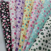 Small size Printed Polka Dots Fine Glitter Leather PU glitter Fabric for DIY Sewing SK30(China)