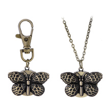New Clock Butterfly Quartz Watches Pocket Watch Key Ring Necklace Women Girl Watch(China)