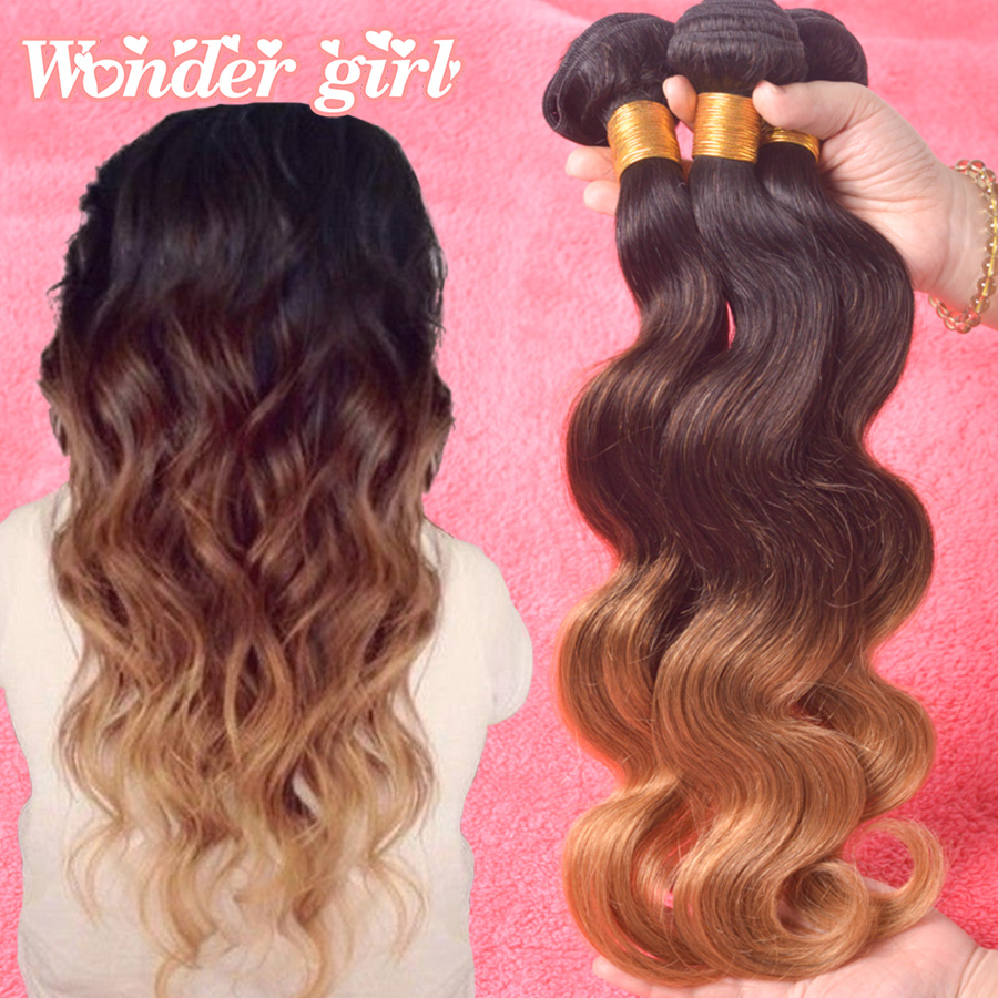 Ombre Malaysian Virgin Hair Blonde Unprocessed 7A Ombre Hair Malaysian Body Wave 3 Bundles T1b/4/27 3Tone Ombre Human Hair Weave<br><br>Aliexpress