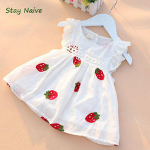 Stay Naive girl dress summer 2017 new children's clothing small flying sleeve embroidered strawberry dress baby(China)