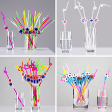 1pc Funny Drinking Straw Mix Color Football Basketball Bird Windmill Shape DIY Scalable Bent Straw For Kids Birthday Party XMAS