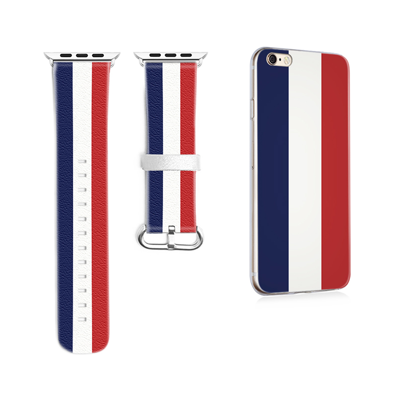 Original Designer National flag Style Leather Band for Apple Watch Band 38mm 42mm Leather for Iwatch Strap Gifts for IPhone Case<br>