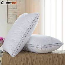 Cilected Cotton Washable Sleeping Pillows For Bedroom Hypoallergenic Dust Mite Resistant Pillows For Home Hotel 48x74cm 1pc(China)