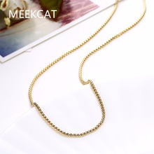 MEEKCAT Women's 1.5mm Round rolo chain 18'' 45cm style Chains necklace Colar de Ouro gold Color fashion jewelry Female Gift