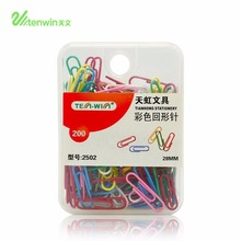 TENWIN 2502 Colorful Paper Clips 200pcs/set Metal Clips Notes Books Memo Paper Clips 28mm Office Supplier Stationery