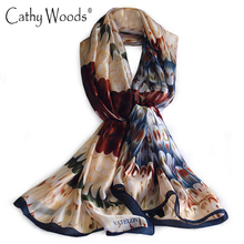 Luxury Brand New Scarf Summer Women 100% Pure Silk Scarf Silkworm Silk Scarves Printed Feather Beach Stole Shawls and Scarves(China)