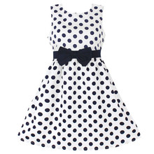 New Fashion Girls Dresses Blue Dot Cotton Sundress Party Birthday Casual Baby Children Clothes Size 2-10(China)