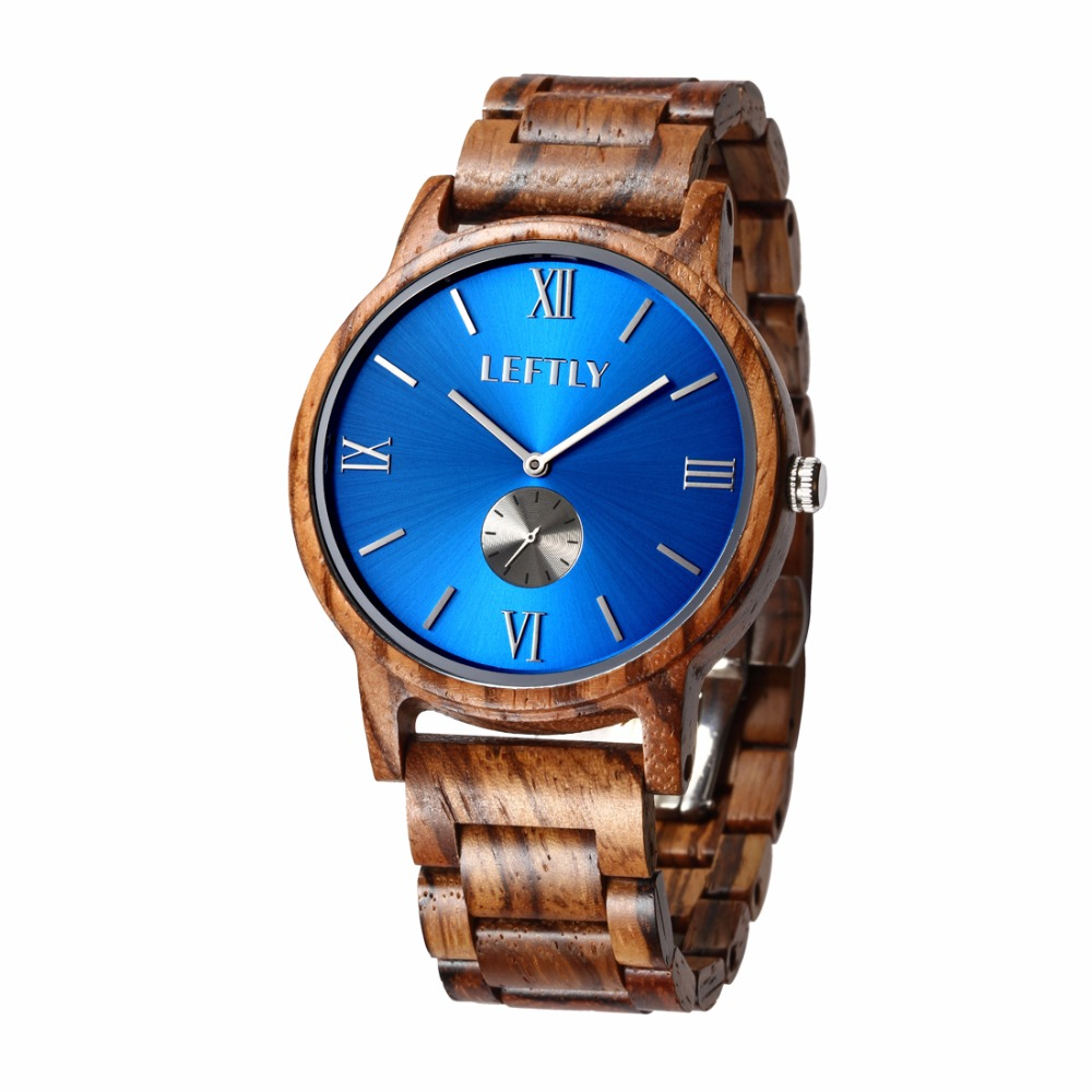 LEFTLY Mens wooden Watch Fashion Casual Handmade Wood Band Lightweight Miyota Movement Vintage Quartz Wrist Watch<br>