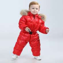 Fashion 2017 winter jacket for girls clothes , baby snowsuit nature fur hooded warm Winter Ski suit children's clothing coats(China)