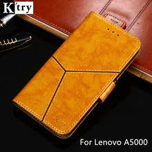 Lenovo a5000 case cover K'try luxury flip leather case back cover Vintage Style capa Coque Lenovo a 5000(China)