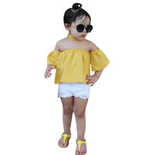 2 pcs set girls clothes children clothing Toddler Kids Baby Girl's Off Shoulder T Shirt Top Shorts Pants Outfit drop shipping(China)