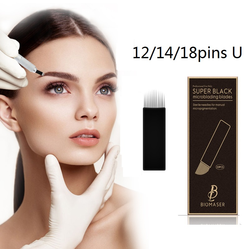 12/14/18 pins U Microblading Needles 18pins Tattoo Needles Curved for Mermanent makeup Eyebrow Pen Machine Biomaser Super Black<br>