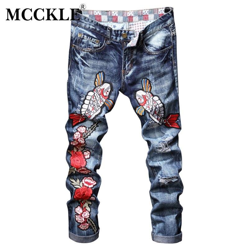 MCCKLE Fashion Mens Jogger Jeans Pant Animals Embroidery Slim Fit Washed Denim Pants Male Ripped Biker jeans TrousersÎäåæäà è àêñåññóàðû<br><br>
