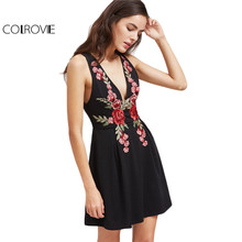 COLROVIE Black Party Dress Women Plunge Neck Vintage Embroidery Club A Line Summer Dresses 2017 Sexy Zip V Back Elegant Dress