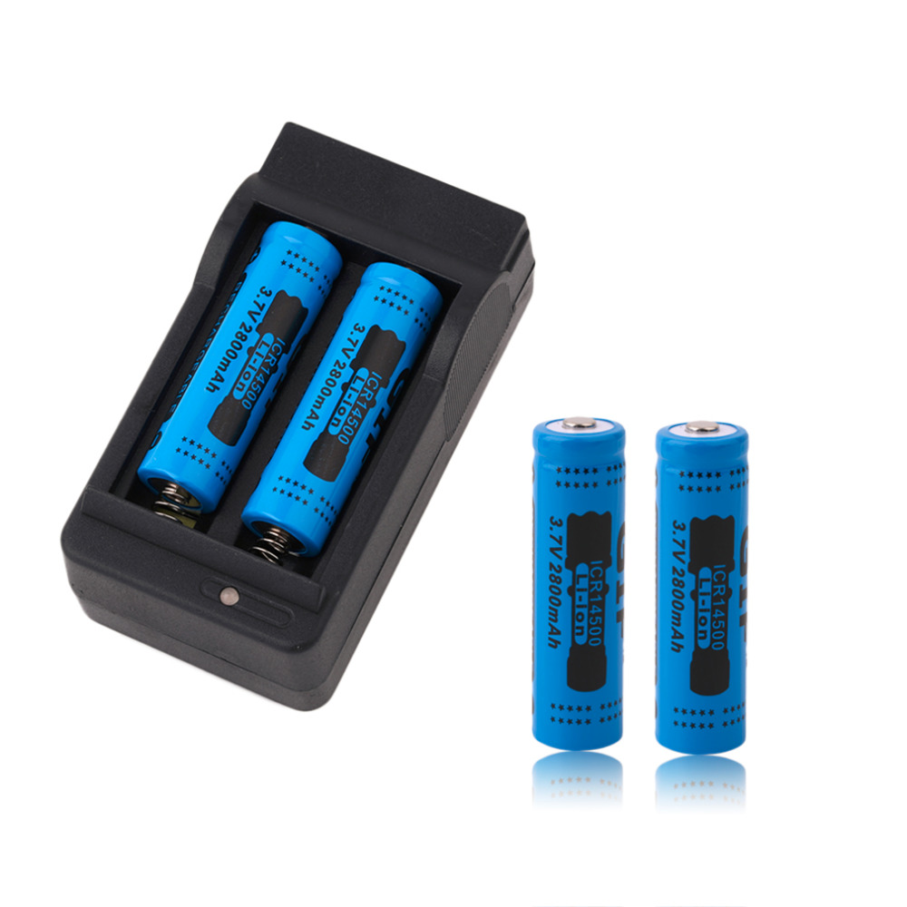 4pcs New 14500 3.7V 2800mAh Rechargeable Batteries 14500 Li-ion Battery + US Plug Charger Blue Yellow Red Wholesale(China)
