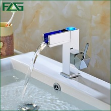 FLG Free shipping Temperature Controlled Faucet,Water Tap Bathroom,Waterfall Faucet,Bathroom Faucets,3 Color LED Faucet 110-11(China)