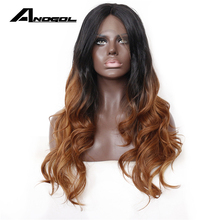 Anogol Two Tones Brown Ombre Dark Roots Long Body Wave High Temperature Fiber Hair Synthetic Lace Front Wig For Black Women