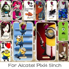 Soft TPU Silicone Phone Case For Alcatel OneTouch Pixi 4 5.0'' OT-5010 5010D 3G Version Covers Minions Alice Shell Housing