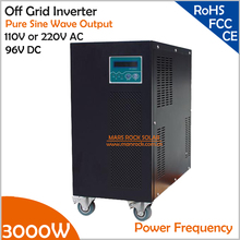 Power Frequency 3000W 96V DC to AC 110V or 220V Pure Sine Wave Off Grid Inverter with City Grid Charge Function