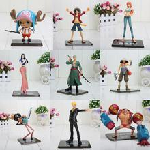 9pcs/lot 9-18cm One Piece toy 2 Years Later Luffy Zoro Sanji Usopp Brook Franky Nami Chopper nico PVC Action toy in opp bag