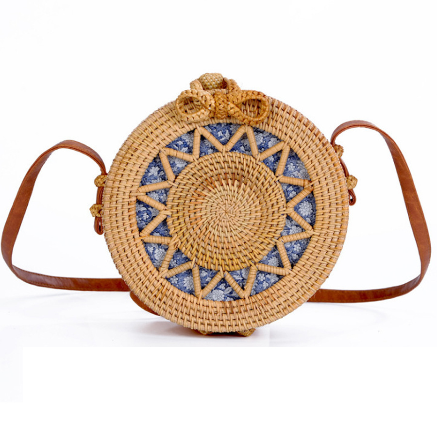 Summer Tote Bohemian Straw Bag Bali Hand Woven Rattan Bag Embroidery