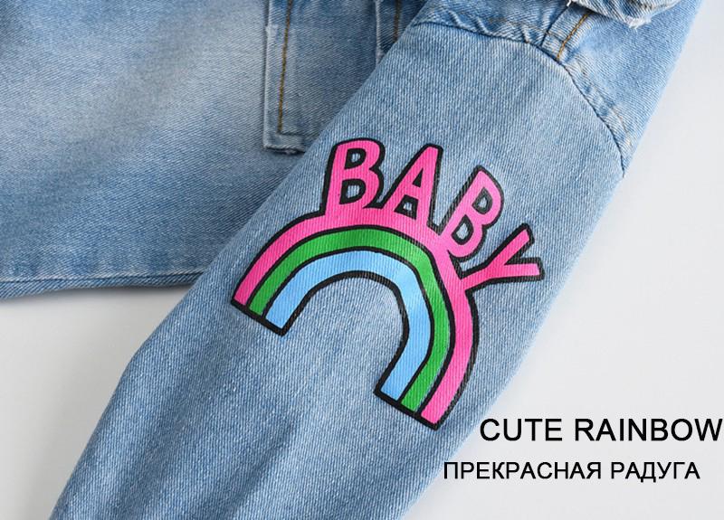 Croal Cherie Kawaii Rainbow Pringting Newborn Baby Clothes Denim Baby Girls Boys Romper Jumpsuit New Born Infant Rompers (2)