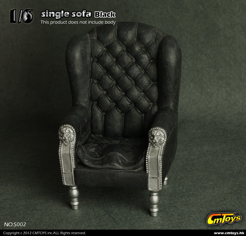 CM Toys 1/6 Black Single Sofa Chair Furniture Model Toys F 12 Action Figure Accessory Collections<br>