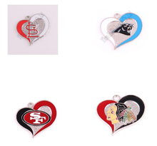 Newest 2016 teams logo San Francisco 49ers Chicago black hawks Carolina Panthers St Louis Cardinals twirl heart football charms(China)