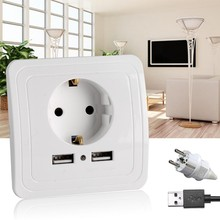 Best Dual USB Port 2A Wall Charger Adapter EU Plug Socket Power Outlet Panel usb charger For xiaomi
