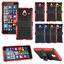 Hybrid Plastic Phone Case For Nokia Lumia 630 1520 640 640XL Rugged Armor Stand Heavy Duty Hard Protective Cover Bags