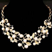 FAMSHIN Simulated Pearl Necklaces & Pendants Gold Leaves Statement Necklace Women Collares Ethnic Jewelry for Personalized Gifts(China)