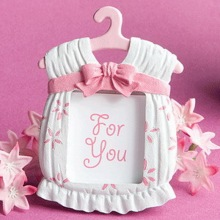 FREE SHIPPING+Cute Pink Dress Design Picture Frame Place Card Holder Baby Shower Favors Birthday Party Giveaway+80pcs/LOT