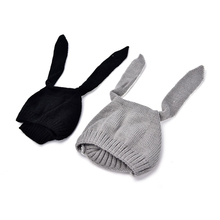 Baby Rabbit Ears Knitted Hat Kids Infant Winter Toddler Cap For Children 0-3 Yrs Photography Props Girl Boy Accessories 1Pcs
