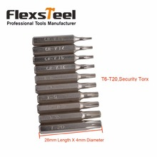 Flexsteel 10pcs CR-V Torx Bit Set Including T3,T4,T5,T6,T7,T8,T9,T10,T15,T20(T6-T20 Security torx)