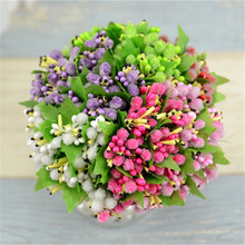 10pcs/ lot Glass Artificial Flower Stamen Pistil For Wedding Cake Box Scrapbook Decors Stem Mulberry Party Wire Stem/Marriage