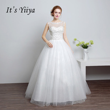 Buy It's YiiYa White Sleeveless Backless Illusion Flowers Wedding Dress Floor Length Bride Gowns Vestidos De Novia Casamento ZT004 for $41.80 in AliExpress store