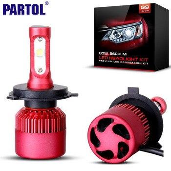 Partol G9 H4 H7 H11 9005 9006 H13 Voiture LED Phare Ampoules 80 W 9600LM CREE XHP50 Puces Tout en un LED Phare Brouillard Lampe 6500 K 12 V