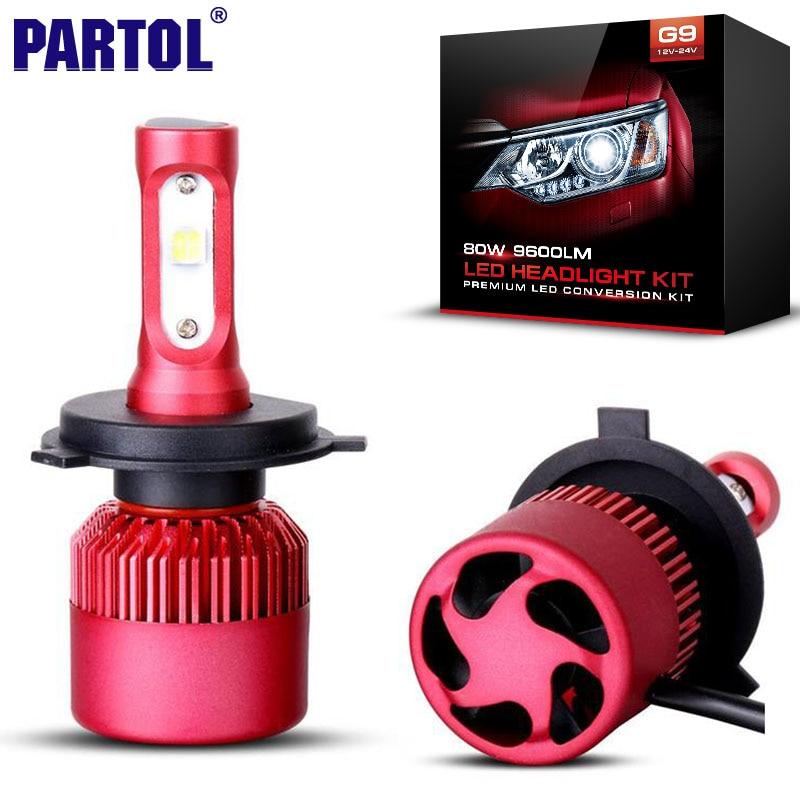 Partol G9 H4 H7 H11 9005 9006 H13 Car LED Headlight Bulbs 80W 9600LM CREE XHP50 Chips All in one LED Headlamp Fog Lamp 6500K 12V<br><br>Aliexpress