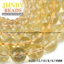 JHNBY Yellow Natural crystal stone Top quality Round Loose beads ball 4/6/8/10/12MM Jewelry bracelet accessories making DIY
