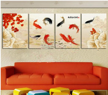 Modern Wall Art Home Decoration Oil Painting Pictures  4 Panel Abstract Black Red Koi Fish Swimming Canvas