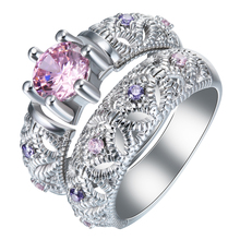 black gun Rings sets purple red pink zircon vintage new fashion jewelry gift princess Engagement Rings for women gift(China)