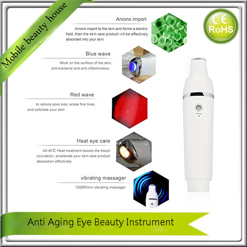 USB Rechargeable Anion Infrared Blue Yellow Light Heating Therapy Micro Vibration Eye Beauty Massager Pen For Wrinkle Puffiness<br><br>Aliexpress