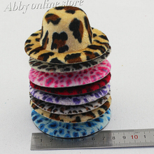 Leopard print party hats with hairpins ,fashion mini top hats Diameter 8cm wide