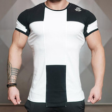 Mens fashion t shirt Spring summer new Leisure shirts Fitness Bodybuilding Long sleeve male personality Slim tee Tops clothing(China)