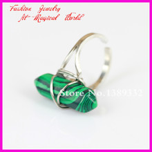 1Pc Nature Green Malachite Point Gems Ring Wire Wrapped Silver Ring Adjustable Circle,Hexagon Druzy Gems Ring