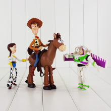 4pcs/lot 14-18cm Toy Story Action Figure Buzz Lightyear Jessie Woody Bullseye Horse Funny Model Doll for Children