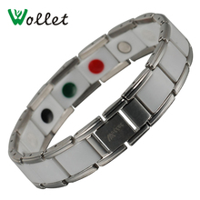 Wollet Jewelry Magnetic Ceramic Bracelet 316L Stainless Steel White Magnet Tourmaline Infrared Germanium Negative Ion Bracelets
