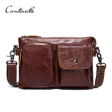 CONTACT'S Genuine Leather Men Bag Casual Fashion Men Messenger Bag Brand Design Brown Crossbody Men's Shoulder Bag Handbags