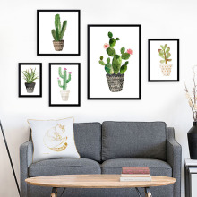 Nordic Tropical Plant Cactus Canvas Painting Minimalist Artwork Fresh Green Wall Pictures Living Room Decor No Frame Paintings