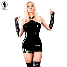 Buy 2017 New arrival sexy lingerie hot Black patent leather Exposed buttocks sexy dress costumes hollow women erotic lingerie